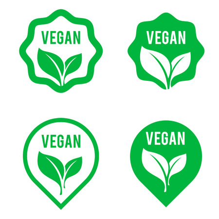 Vegan green logo stickers set for vegan product shop tags, vegetarian labels or banners and posters. Set of bubbles, stickers, labels, tags with text. Natural, eco food. Organic food badges in vector.