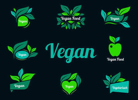 Vegan green logo stickers set for vegan product shop tags, vegetarian labels or banners and posters. Set of stickers and badges for organic food and drink, restaurant, food store, natural products.