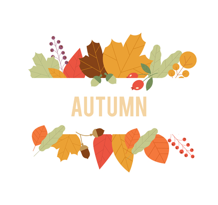 Autumn Design in Vector. Autumn composition. Autumn sale banner on maple leaf foliage pattern background. Vector September oak acorn and discount text for shop poster or leaflet. Web banner template.