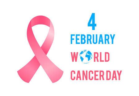 February 4 is World Cancer Day. Breast cancer awareness.Pink ribbon flat design.