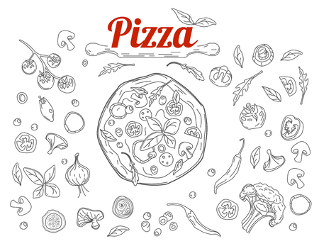 Italian pizza and ingredients top view frame. Italian food menu design template. Vintage hand drawn sketch, vector illustration. Pizza label for menu. Food in doodle style.