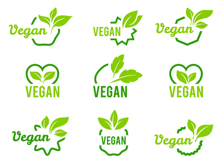 Icône végétalienne. Ensemble de badges, emblèmes et timbres vectoriels. Jeu de feuilles abstraites isolé sur fond blanc.