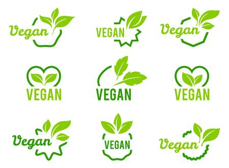 Veganes Symbol. Satz Abzeichen, Embleme und Stempelvektor. Abstrakter Blattsatz lokalisiert auf weißem Hintergrund.