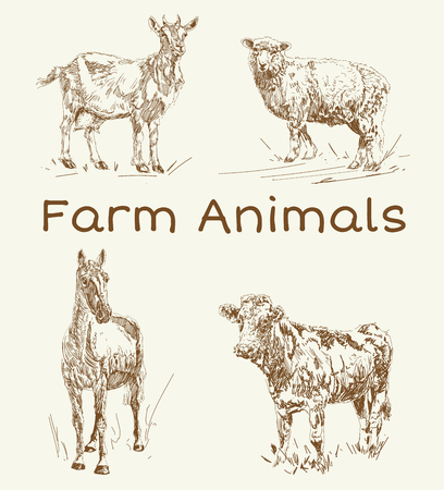 Doodle animals. Farm animals vintage set. Drawings for text illustration, decoupage, design covers, signage, posters.