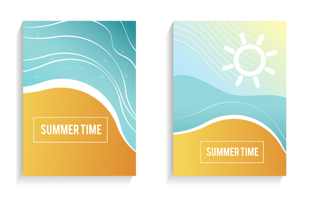 Beautiful Summer Time cards, posters, flyers, party invitations. Unique artistic summer cards with bright gradient background,shapes and geometric elements in memphis style.Postcard with sandy beach