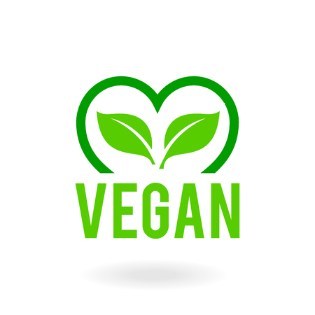 icon for vegan food. Bio, Ecology, Organic logos and badges.Green leaf sign.