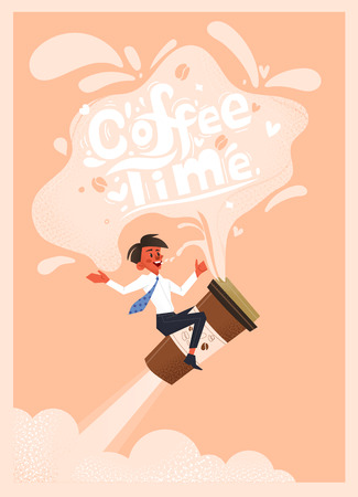 Office employee drinks coffee. Hand drawn conceptual illustration. Teamwork and shop poster. Time to drink coffee