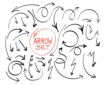 Arrows circles and abstract doodle writing design vector set. Vector set of hand drawn arrows.