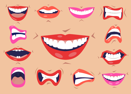 Cartoon cute mouth expressions facial gestures set with pouting lips smiling sticking out tongue isolated illustration. Smiles and lips icons set.