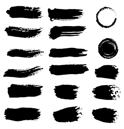 Ink splashes. Black inked splatter dirt stain splattered spray splash. Black dry brushstrokes hand drawn set. Blobs and spatters. Design element. Isolated vector illustration