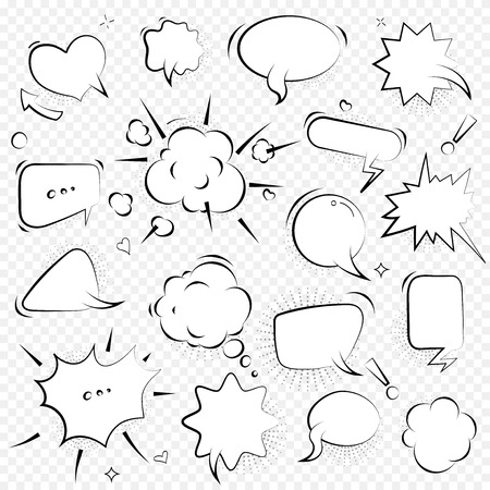 Speech bubbles. Thinking and speaking clouds with halftone vector set