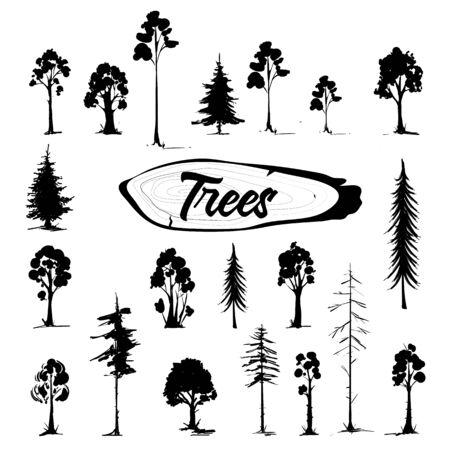 Tree icon set. Hand drawn isolated illustrations. 일러스트