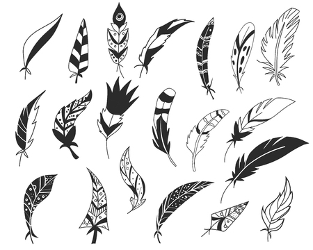 Rustic decorative feathers. Hand drawn vintage vector design set. Tribal Feathers. Ink illustration.