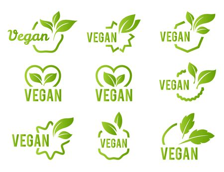 Vegan icon set. Bio, Ecology, Organic logos and badges, label, tag. Green leaf on white background. Vector illustration Ilustracja