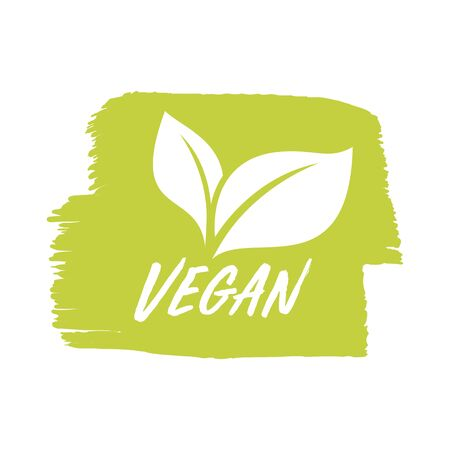 For vegan product shop tags, vegetarian label or banner and poster. Ilustracja