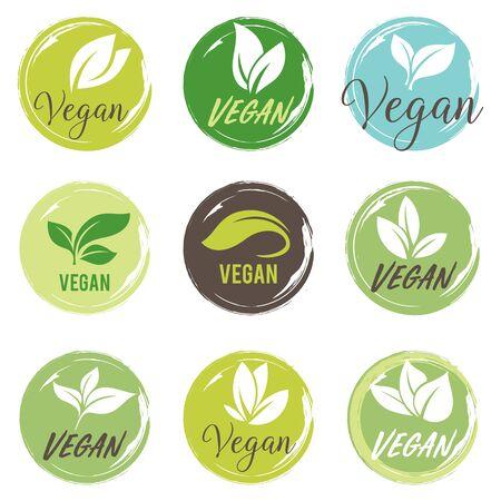 Vegan icon set. Bio, Ecology, Organic logos and badges, label, tag. Green leaf on white background.