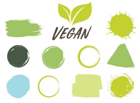 Bio, Ecology, Organic logos and icons, labels, tags. Hand drawn bio healthy food badges, set of raw, vegan, healthy food signs, organic and elements set. Ink illustration. Ilustracja