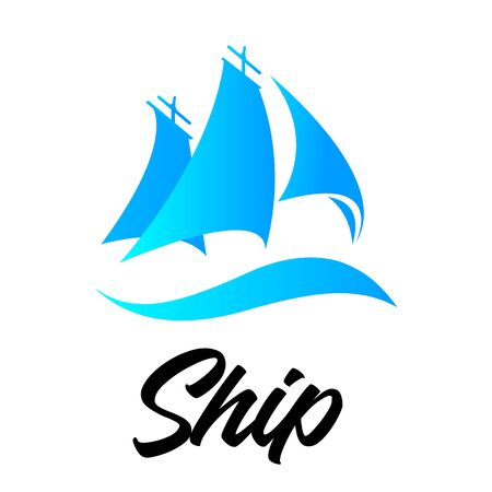 Marine vehicle. Ship icon on white background for graphic and web design. Simple vector sign. Business logo yacht floating on the waves modern simple. Sailing Yacht Logo.