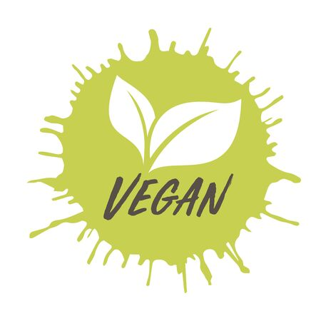 Vegan icon.Ink with stamp effect. Vector for posters, web, cards, decor, t shirts. Vector round eco, bio green logo or sign.