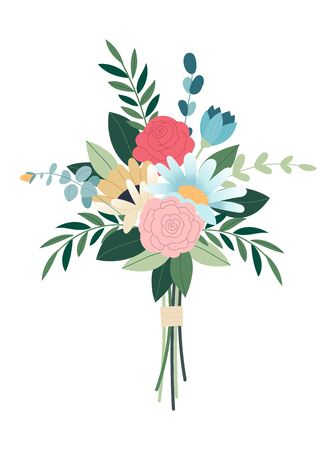 Wedding concept. Collection of detailed drawings of trendy floristic flowers and decorative flowering plants. Bundle of elegant floral decorations. Flower bouquet.