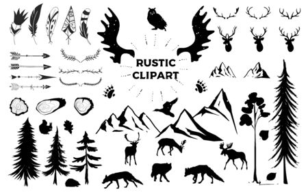 Hand drawn vintage antlers, feathers, arrows. decorative vector design set. Rustic animal. Hipster logo design element.