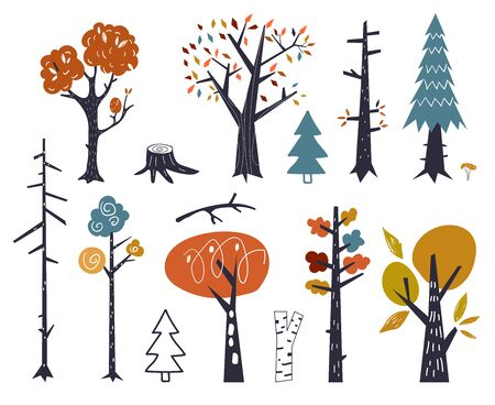 Vector set of children drawings - cute forest and plants. Doodle style. Colorful autumn trees. Woodland flora in Scandinavian decorative style.