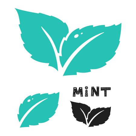 Blue mint leave icon on white. Mint leaves vector logo.