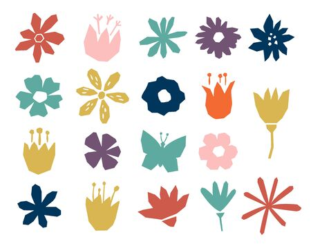 Floral paper cut shapes in red, pastel pink, blue, gray and purple on white background. Ilustracja
