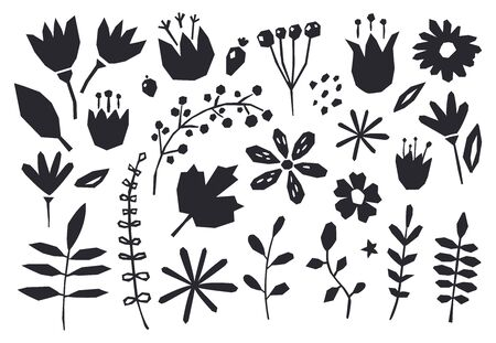 Collection of graphic elements flowers, plants. Cute and modern wallpaper, web background, fabric and packaging design. Contemporary collage design elements. Ilustracja