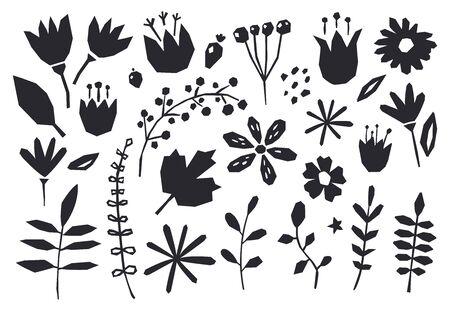Raccolta di elementi grafici fiori, piante. Carta da parati carina e moderna, sfondo web, tessuto e design della confezione. Elementi di design collage contemporaneo. Vettoriali