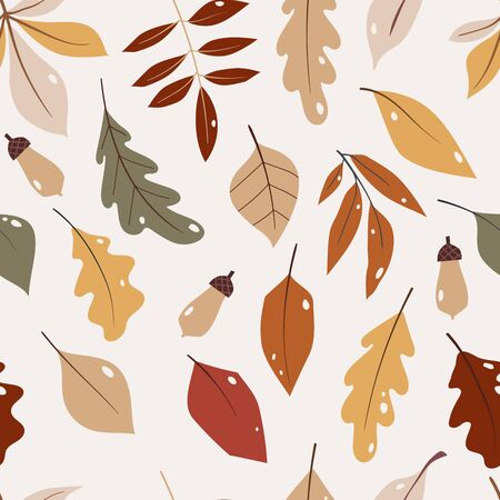 Vector seamless pattern with falling leaves, autumn floral elements.right repeated texture for fall season. Wrapping paper. Harvest time. Autumn background with acorns, nuts, leaves.