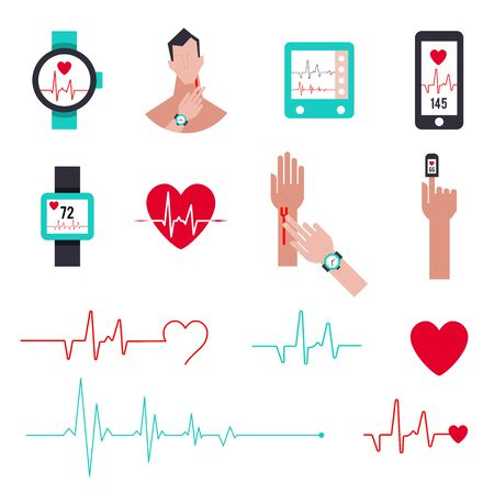Heart rate monitor for running. Set of icons in a flat style. Pulse measurement vector illustration.