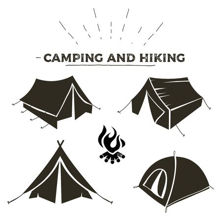 Camping and hiking tent types in outline design. Tourist tents icons collection. Logo or label template.