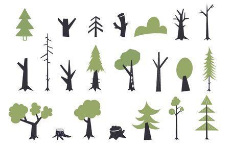 Flat trees set. Flat forest tree nature plant isolated eco foliage. Set of abstract stylized trees. Ilustracja