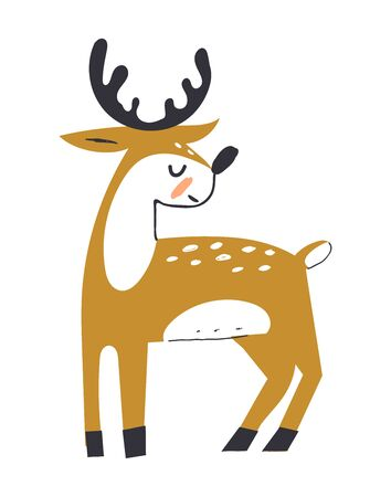 Cute deer with antlers. Deer in scandinavian style. Hoofed ruminant mammals. Cartoon animal design. Flat vector illustration isolated on white background. Ilustracja