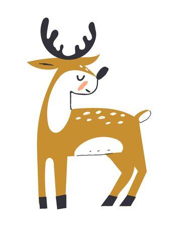 Cute deer with antlers. Deer in scandinavian style. Hoofed ruminant mammals. Cartoon animal design. Flat vector illustration isolated on white background. Ilustração