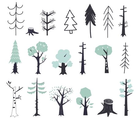 Vector set of children s drawings - cute forest and plants. Doodle style. Ideal for childs decoration. Flat green trees.