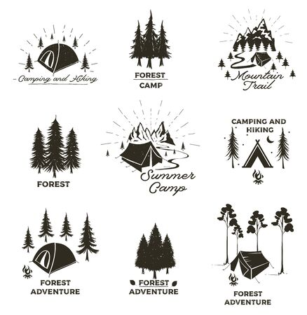 Set of vintage camping and outdoor adventure emblems, logos and badges. Camp tent in forest or mountains. Camping equipment. Summer camp with design elements. Vector illustration. Ilustracja