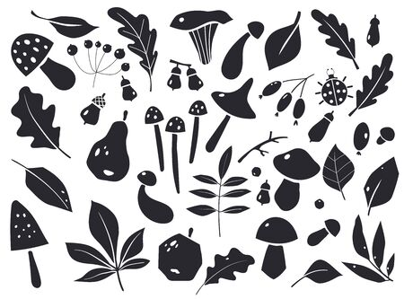 Set of autumn silhouettes of leaves and berries. Graphic elements for designs.