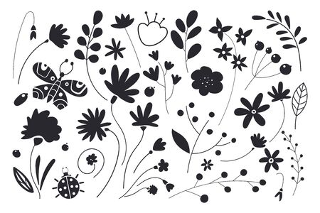 Set of flowers and leaves. Leaf black silhouettes on white background. Stockfoto - 131466841
