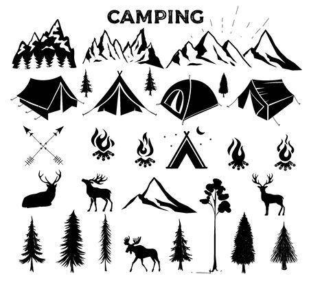 Evento di viaggio. Modello di logo di vettore di campeggio per il vostro disegno. Tenda turistica, foresta, campo, alberi, distintivi del campo, etichette, striscioni, opuscoli. Set di campeggio vintage, emblemi di avventura all'aperto.
