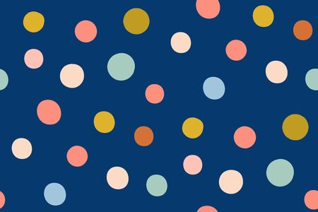 Multi-colored circles on a blue background. Various spots. Seamless hand drawn pattern with colorful dots. Abstract childish texture for fabric, textile, apparel.