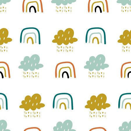 Cute doodle vector pattern with rainbows and clouds. Sky seamless background. Creative scandinavian kids texture for fabric, wrapping, textile, wallpaper, apparel.