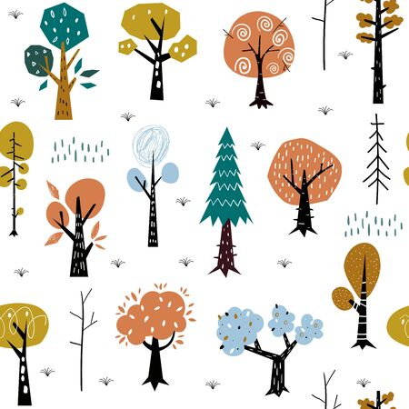 Seamless pattern with colorful autumn forest trees. Great for fabric, textile. Vector background.