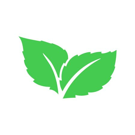 Eco green color leaf vector logo flat icon. Bio plant and tree floral forest concept design. Leaves icon.