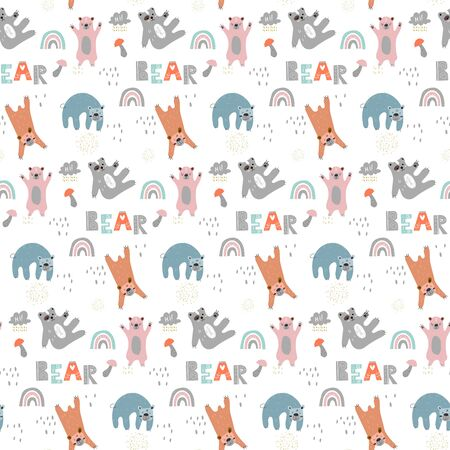 Childish seamless pattern with cute bears. Creative scandinavian style kids texture for fabric, wrapping, textile, wallpaper, apparel.