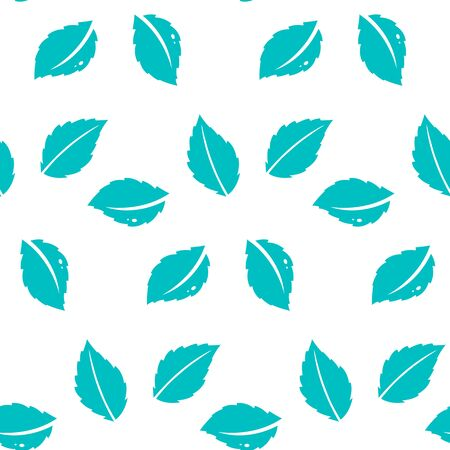 Fresh mint leaves pattern.Seamless repeating pattern with abstract floral and leaf shapes in mint.