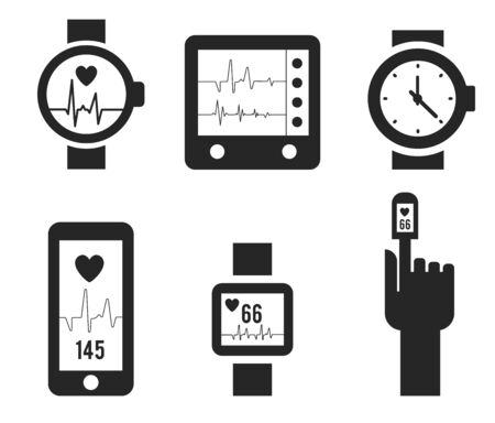 Smart watch and heartbeat line logo template. Pulse vector design. Wristwatch logotype. Ilustracja