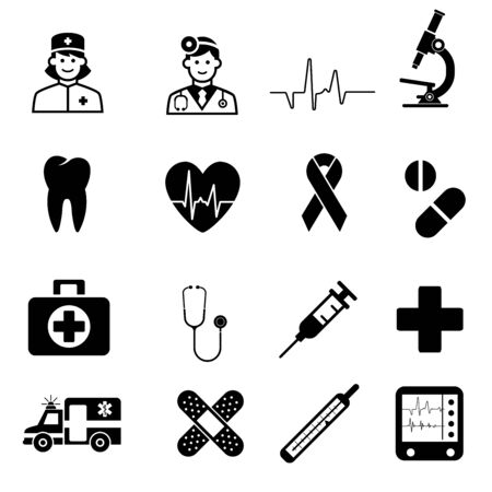 Medical Icons. sign in flat design medicine, pharmacology, oncology, blood count, medical ethics with elements for mobile concepts and web app. Collection modern infographic logo or pictogram.
