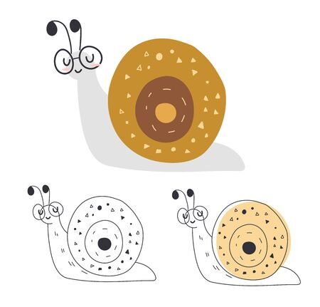 Cute cartoon illustration of a snail. Character snail. Cute vector illustration snail doodle style.